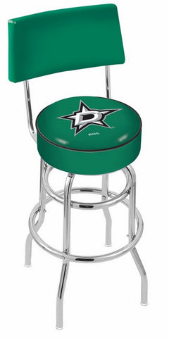 "30"" L7C4 - Chrome Double Ring Dallas Stars Swivel Bar Stool with a Back by Holland Bar Stool Company"