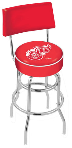 "30"" L7C4 - Chrome Double Ring Detroit Red Wings Swivel Bar Stool with a Back by Holland Bar Stool Company"