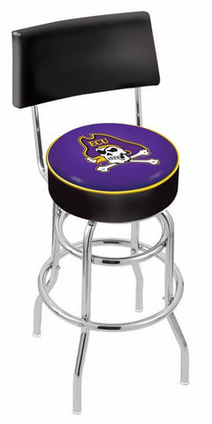 "ECU Pirates 30"" L7C4 - Chrome Double Ring East Carolina Swivel Bar Stool with a Back by Holland Bar Stool Company"
