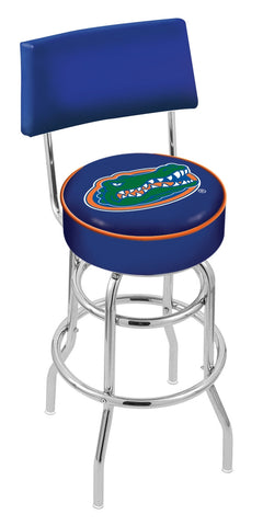 "UF Gators 30"" L7C4 - Chrome Double Ring Florida Swivel Bar Stool with a Back by Holland Bar Stool Company"