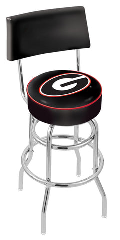 "UGA Bulldogs 30"" L7C4 - Chrome Double Ring Georgia ""G"" Swivel Bar Stool with a Back by Holland Bar Stool Company"