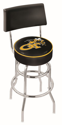 "Georgia Tech Yellow Jackets 30"" L7C4 - Chrome Double Ring Georgia Tech Swivel Bar Stool with a Back by Holland Bar Stool Company"