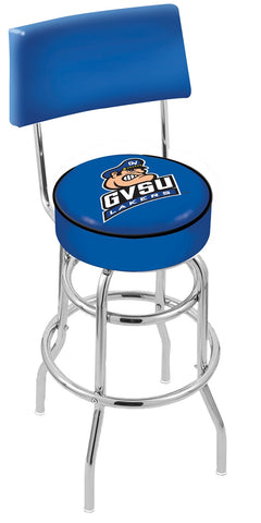 "GVSU Lakers 30"" L7C4 - Chrome Double Ring Grand Valley State Swivel Bar Stool with a Back by Holland Bar Stool Company"