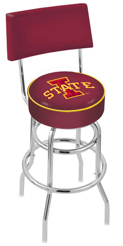 "ISU Cyclones 30"" L7C4 - Chrome Double Ring Iowa State Swivel Bar Stool with a Back by Holland Bar Stool Company"