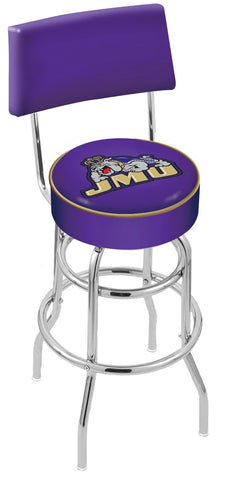 "JMU Dukes 30"" L7C4 - Chrome Double Ring James Madison Swivel Bar Stool with a Back by Holland Bar Stool Company"