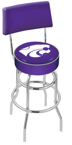 "KSU Wildcats 30"" L7C4 - Chrome Double Ring Kansas State Swivel Bar Stool with a Back by Holland Bar Stool Company"