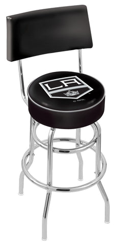 "30"" L7C4 - Chrome Double Ring Los Angeles Kings Swivel Bar Stool with a Back by Holland Bar Stool Company"