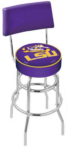 "LSU Tigers 30"" L7C4 - Chrome Double Ring Louisiana State Swivel Bar Stool with a Back by Holland Bar Stool Company"