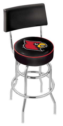 "UofL Cardinals 30"" L7C4 - Chrome Double Ring Louisville Swivel Bar Stool with a Back by Holland Bar Stool Company"