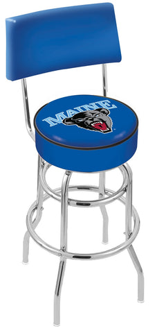 "Maine Black Bears 30"" L7C4 - Chrome Double Ring Maine Swivel Bar Stool with a Back by Holland Bar Stool Company"