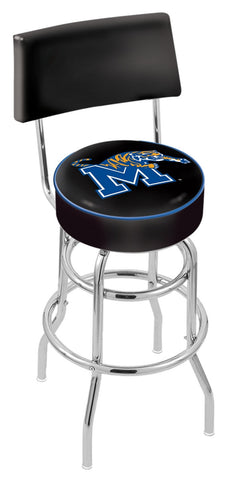 "Memphis Tigers 30"" L7C4 - Chrome Double Ring Memphis Swivel Bar Stool with a Back by Holland Bar Stool Company"