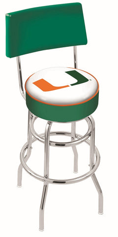 "Miami Hurricanes 30"" L7C4 - Chrome Double Ring Miami (FL) Swivel Bar Stool with a Back by Holland Bar Stool Company"