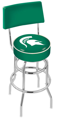 "MSU Spartans 30"" L7C4 - Chrome Double Ring Michigan State Swivel Bar Stool with a Back by Holland Bar Stool Company"