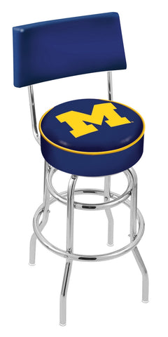 "Michigan Wolverines 30"" L7C4 - Chrome Double Ring Michigan Swivel Bar Stool with a Back by Holland Bar Stool Company"