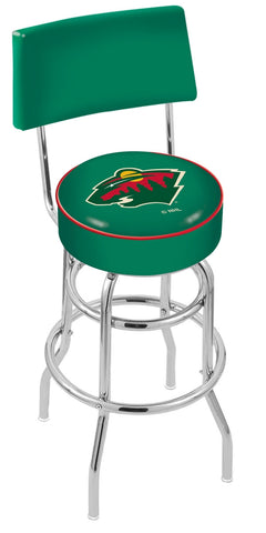 "30"" L7C4 - Chrome Double Ring Minnesota Wild Swivel Bar Stool with a Back by Holland Bar Stool Company"