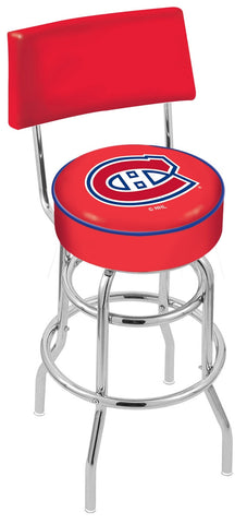 "30"" L7C4 - Chrome Double Ring Montreal Canadiens Swivel Bar Stool with a Back by Holland Bar Stool Company"