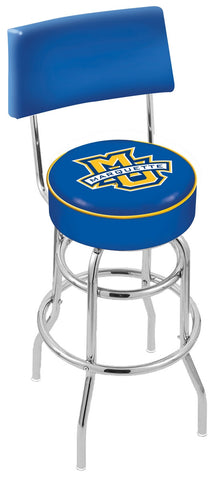 "Marquette Golden Eagles 30"" L7C4 - Chrome Double Ring Marquette Swivel Bar Stool with a Back by Holland Bar Stool Company"