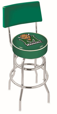 "Marshall  Thundering Herd 30"" L7C4 - Chrome Double Ring Marshall Swivel Bar Stool with a Back by Holland Bar Stool Company"
