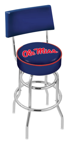 "Ole Miss Rebels 30"" L7C4 - Chrome Double Ring Ole' Miss Swivel Bar Stool with a Back by Holland Bar Stool Company"