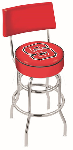 "NC State Wolfpack 30"" L7C4 - Chrome Double Ring North Carolina State Swivel Bar Stool with a Back by Holland Bar Stool Company"