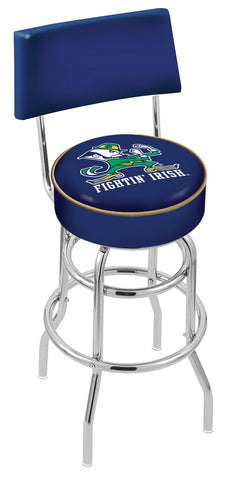"ND Fighting Irish 30"" L7C4 - Chrome Double Ring Notre Dame (Leprechaun) Swivel Bar Stool with a Back by Holland Bar Stool Company"