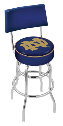 "ND Fighting Irish 30"" L7C4 - Chrome Double Ring Notre Dame (ND) Swivel Bar Stool with a Back by Holland Bar Stool Company"