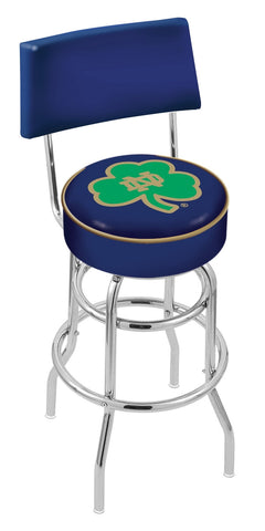 "ND Fighting Irish 30"" L7C4 - Chrome Double Ring Notre Dame (Shamrock) Swivel Bar Stool with a Back by Holland Bar Stool Company"