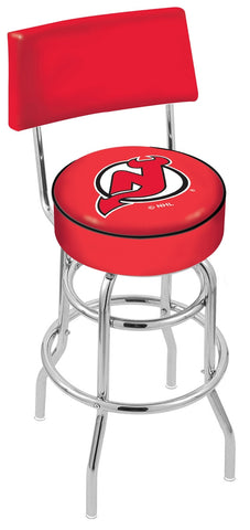 "30"" L7C4 - Chrome Double Ring New Jersey Devils Swivel Bar Stool with a Back by Holland Bar Stool Company"