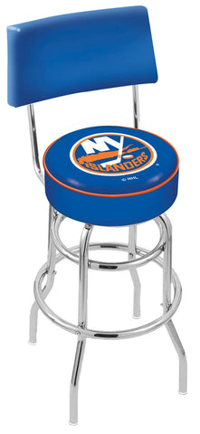 "30"" L7C4 - Chrome Double Ring New York Islanders Swivel Bar Stool with a Back by Holland Bar Stool Company"