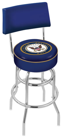 "30"" L7C4 - Chrome Double Ring U.S. Navy Swivel Bar Stool with a Back by Holland Bar Stool Company"