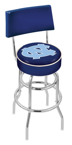 "UNC Tar Heels 30"" L7C4 - Chrome Double Ring North Carolina Swivel Bar Stool with a Back by Holland Bar Stool Company"