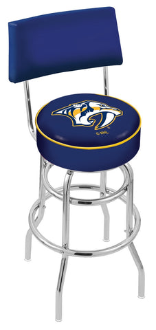 "30"" L7C4 - Chrome Double Ring Nashville Predators Swivel Bar Stool with a Back by Holland Bar Stool Company"