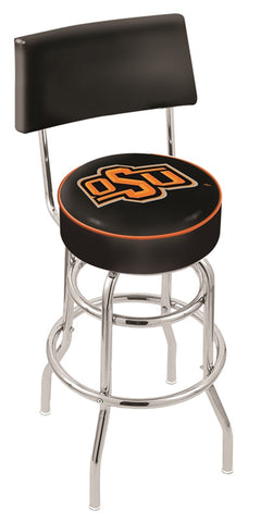 "OSU Cowboys 30"" L7C4 - Chrome Double Ring Oklahoma State Swivel Bar Stool with a Back by Holland Bar Stool Company"