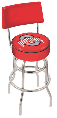 "OSU Buckeyes 30"" L7C4 - Chrome Double Ring Ohio State Swivel Bar Stool with a Back by Holland Bar Stool Company"