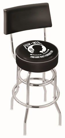 "30"" L7C4 - Chrome Double Ring POW/MIA Swivel Bar Stool with a Back by Holland Bar Stool Company"