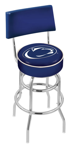 "PSU Nittany Lions 30"" L7C4 - Chrome Double Ring Penn State Swivel Bar Stool with a Back by Holland Bar Stool Company"