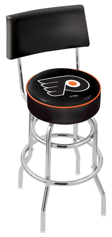 "30"" L7C4 - Chrome Double Ring Philadelphia Flyers Swivel Bar Stool with a Back by Holland Bar Stool Company"