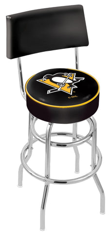 "30"" L7C4 - Chrome Double Ring Pittsburgh Penguins Swivel Bar Stool with a Back by Holland Bar Stool Company"