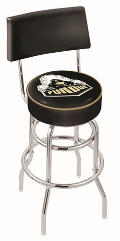 "Purdue  Boilermakers 30"" L7C4 - Chrome Double Ring Purdue Swivel Bar Stool with a Back by Holland Bar Stool Company"