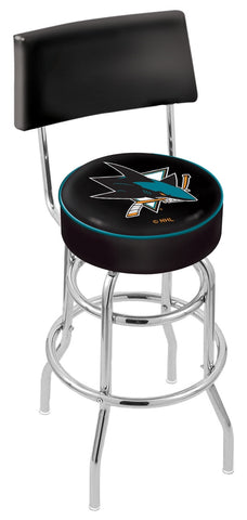 "30"" L7C4 - Chrome Double Ring San Jose Sharks Swivel Bar Stool with a Back by Holland Bar Stool Company"