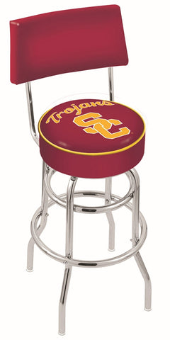 "USC Trojans 30"" L7C4 - Chrome Double Ring USC Trojans Swivel Bar Stool with a Back by Holland Bar Stool Company"