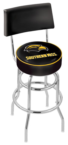 "Southern Miss Golden Eagles 30"" L7C4 - Chrome Double Ring Southern Miss Swivel Bar Stool with a Back by Holland Bar Stool Company"
