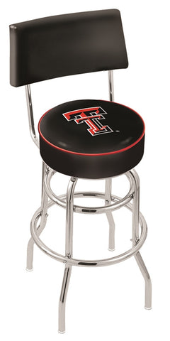 "TTU Red Raiders 30"" L7C4 - Chrome Double Ring Texas Tech Swivel Bar Stool with a Back by Holland Bar Stool Company"