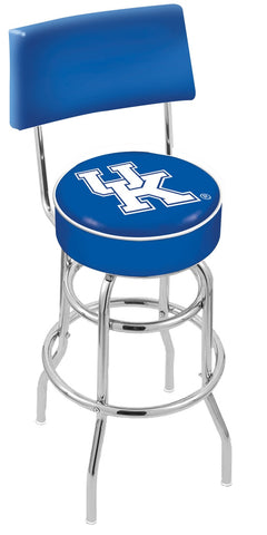 "UK Wildcats 30"" L7C4 - Chrome Double Ring Kentucky ""UK"" Swivel Bar Stool with a Back by Holland Bar Stool Company"