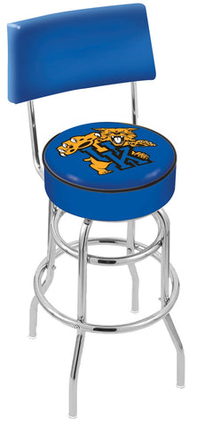 "UK Wildcats 30"" L7C4 - Chrome Double Ring Kentucky ""Wildcat"" Swivel Bar Stool with a Back by Holland Bar Stool Company"