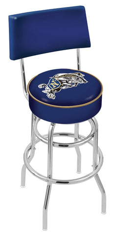 "Navy Midshipmen 30"" L7C4 - Chrome Double Ring US Naval Academy (NAVY) Swivel Bar Stool with a Back by Holland Bar Stool Company"