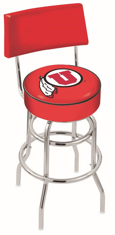 "Utah Utes 30"" L7C4 - Chrome Double Ring Utah Swivel Bar Stool with a Back by Holland Bar Stool Company"
