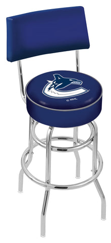 "30"" L7C4 - Chrome Double Ring Vancouver Canucks Swivel Bar Stool with a Back by Holland Bar Stool Company"