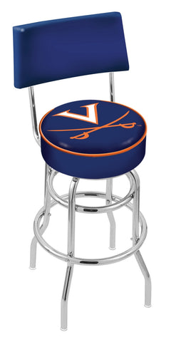 "UVA Cavaliers 30"" L7C4 - Chrome Double Ring Virginia Swivel Bar Stool with a Back by Holland Bar Stool Company"