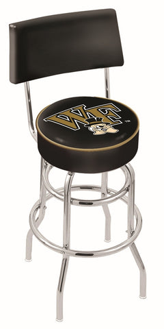 "Wake Forest Demon Deacons 30"" L7C4 - Chrome Double Ring Wake Forest Swivel Bar Stool with a Back by Holland Bar Stool Company"